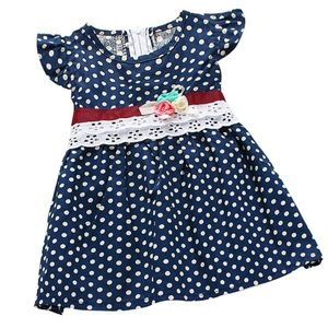 Other - Blue and White Polka Dot Sleeveless Dress